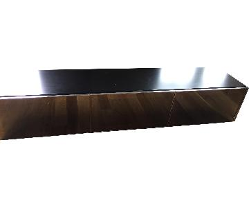 Wood/Mirror Media Console Table