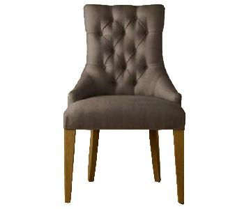 Restoration Hardware Black Tufted Desk Chair w/ Wood Legs
