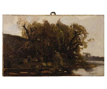 Dutch Signed Impressionist Landscape Painting Oil On Canvas