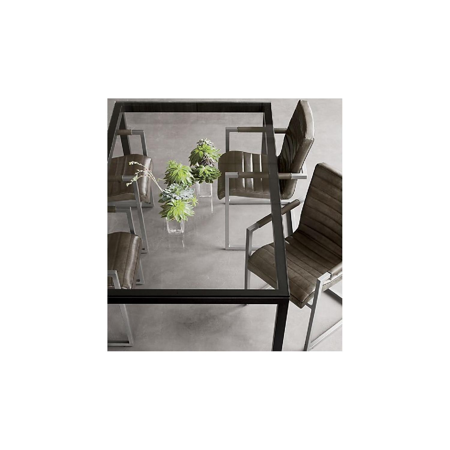 Crate & Barrel Clear Glass Top/Dark Steel Base Dining Table-0