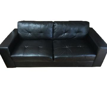 Raymour & Flanigan Black Faux Leather Sofa & Chair