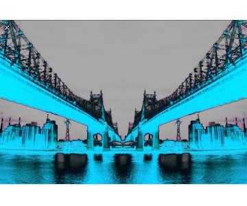 Fluorescent Palace Night Vision Blue Canvas Art