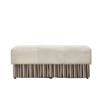 Large Cream Hair on Hide Bench