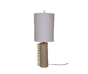Cream Leather Suede Table Lamp in Polished Brass