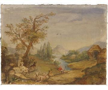 Italian Landscape Paintings Tempera On Canvas