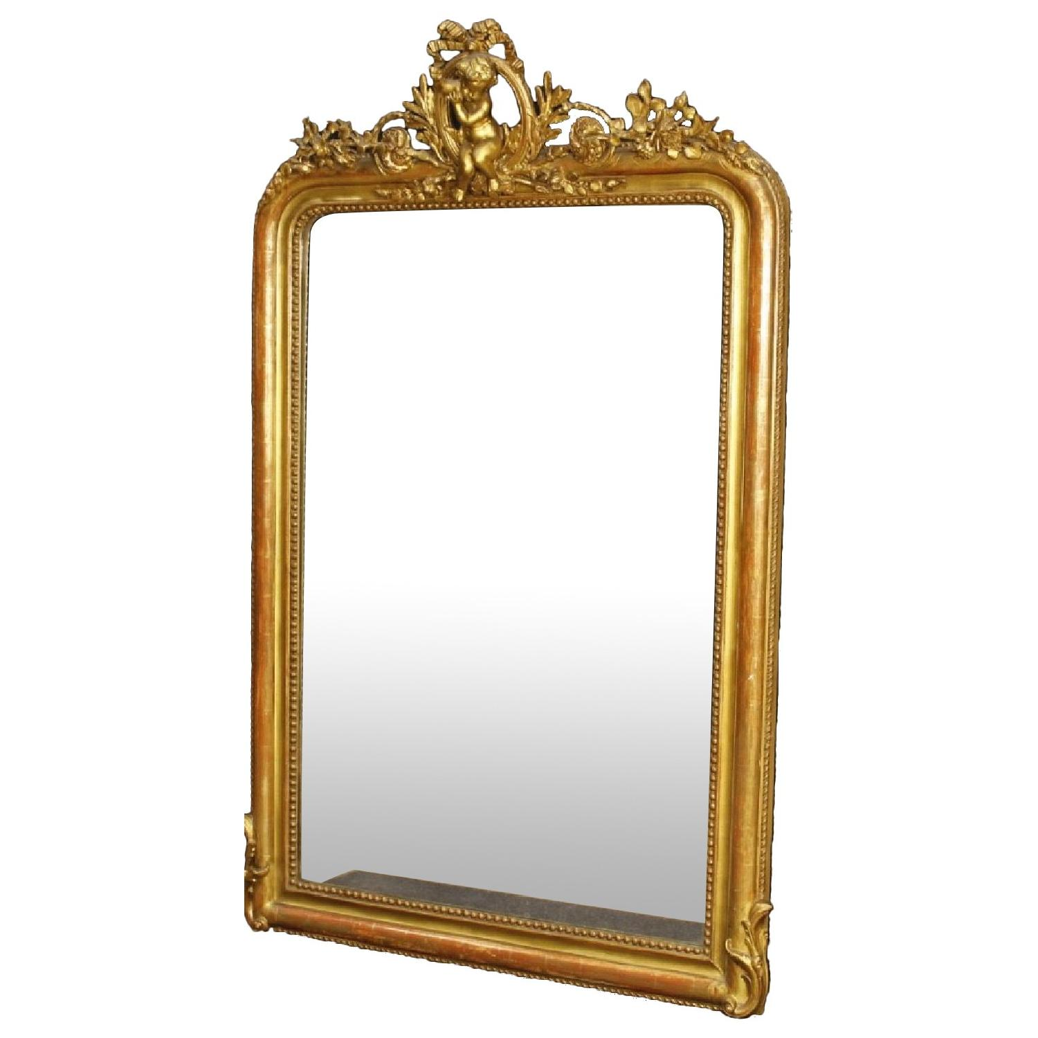 French Mirror in Gilt Wood & Plaster w/ Little Angel