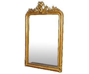 French Mirror in Gilt Wood & Plaster w/ Little Angel