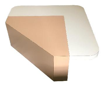 Adaptations Vintage Mod Style Peach & Ecru Coffee Table