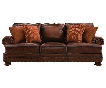 Raymour & Flanigan Leather Sofa + Armchair & Ottoman