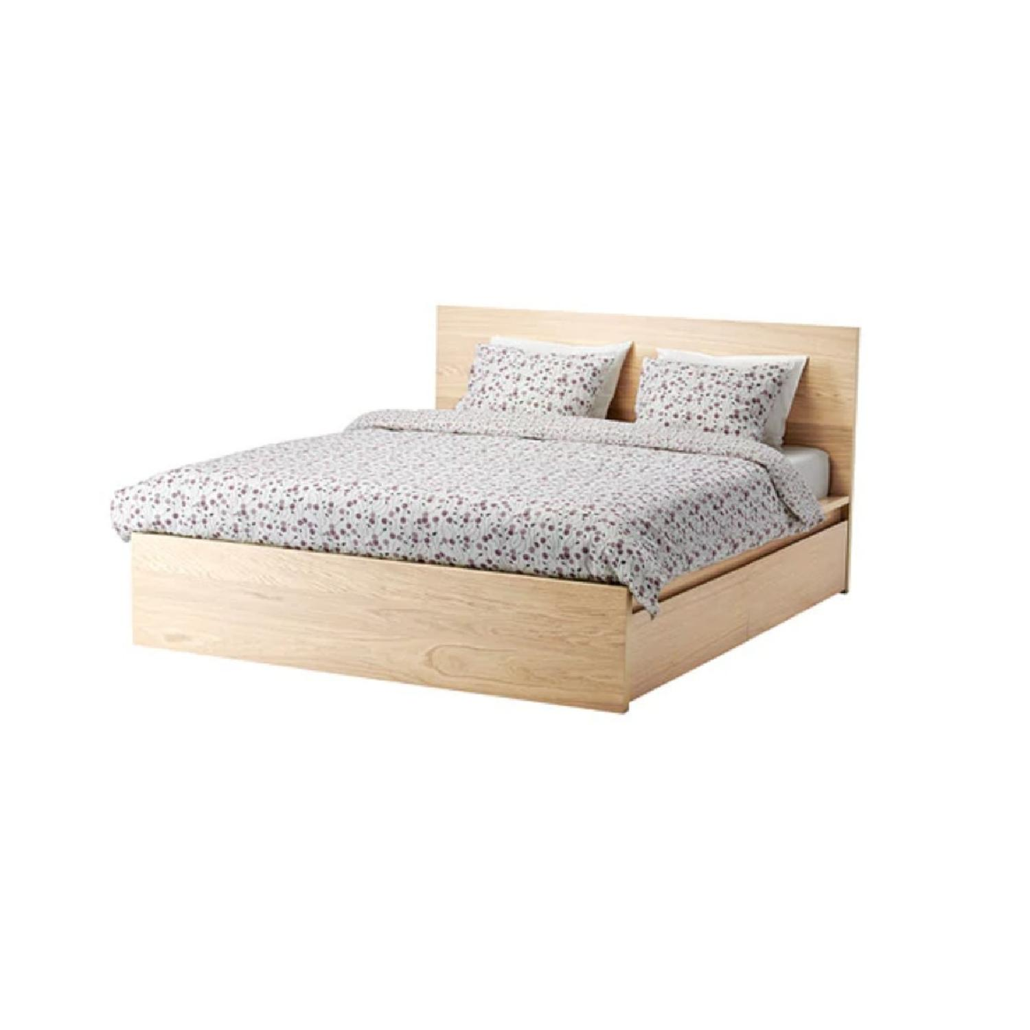 ikea malm birch veneer full size bed w 2 storage drawers - Bed With Drawers