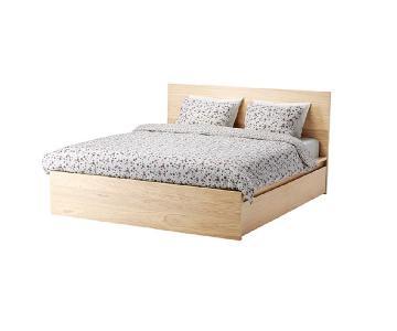 Ikea Malm Birch Veneer Full Size Bed w/ 2 Storage Drawers