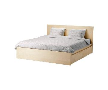 Ikea Malm Birch Veneer Full Size Bed w/ Underbed Storage