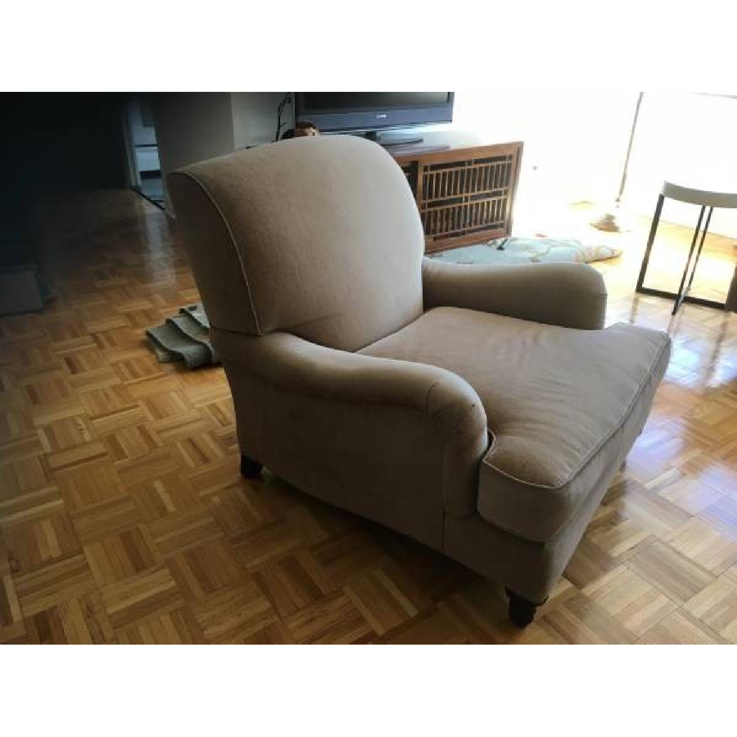Restoration Hardware Armchair In Stone Chenille Fabric ...