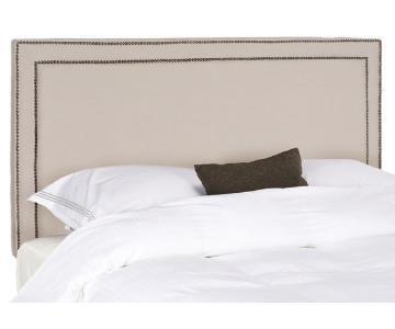 Safavieh Taupe Linen Upholstered Brass Nailhead Headboard