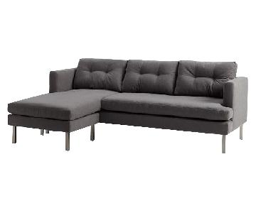 West Elm Jackson 2-Piece Chaise Sectional in Grey