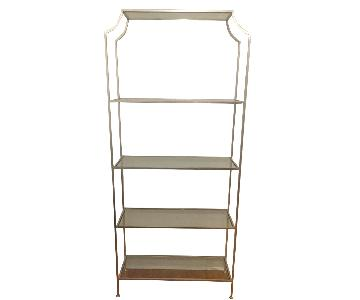 Silver Metal Tempered Glass Shelf Rack