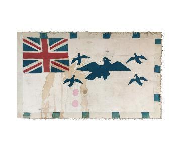 Vintage Blue Bird Fante Asafo Flag Ghana