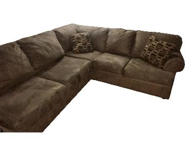 Brown Suede 2 Piece Right Arm Facing Sectional Sofa