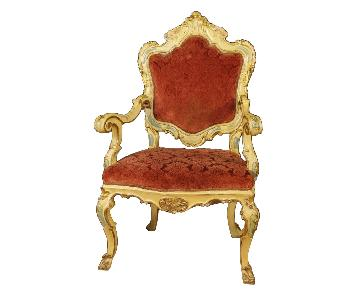 Venetian Armchairs in Lacquered & Gilt Wood