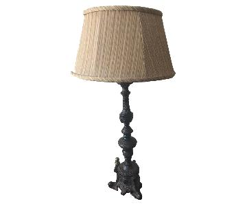 Carved Wood Base Table Lamp w/ Fabric Pleated Shade