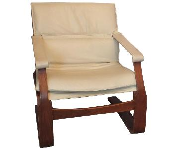 Nelo Mobler White Leather Lounge Chairs