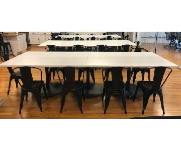 White Plastic Cafeteria Style Tables