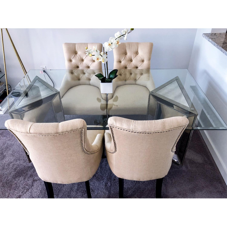 Marvelous Macys Tufted Linen Dining Chairs Aptdeco Inzonedesignstudio Interior Chair Design Inzonedesignstudiocom