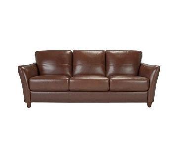 Raymour & Flanigan Bexley Brown Leather Sofa