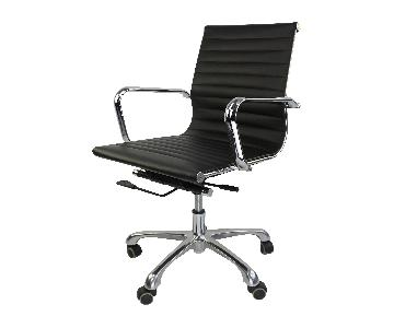 Mid Back Low Eames Style Ribbed Management Office Chair