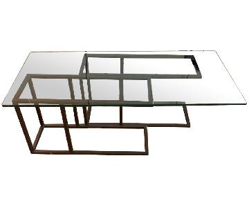 West Elm Glass & Metal Coffee Table