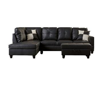 Andover Mills Russ Faux Leather Sectional Sofa & Ottoman
