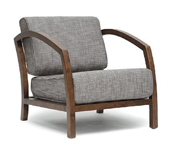 Baxton Studio Brown Wood Frame Accent Chair w/ Grey Cushions