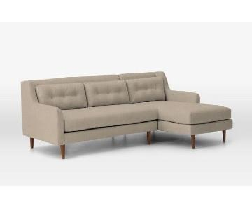 West Elm Crosby 2-Piece Right Chaise Sectional Sofa