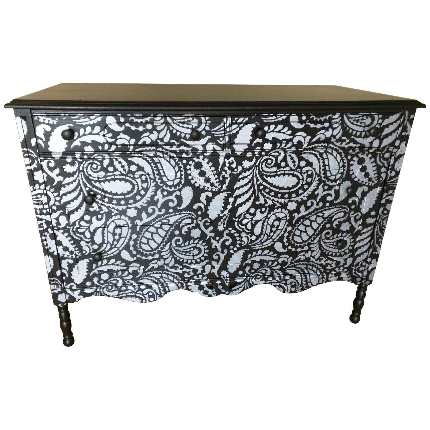 Black Dresser in Silver Paisley Design