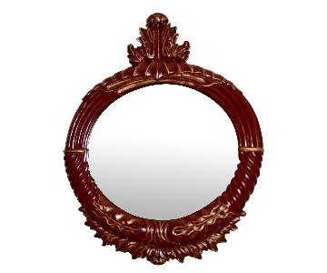 Baroque Ornate Painted Red w/ Gold Round Mirror