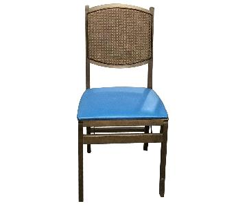 Foldable Wood Chairs w/ Faux Leather Seat & Rattan Back