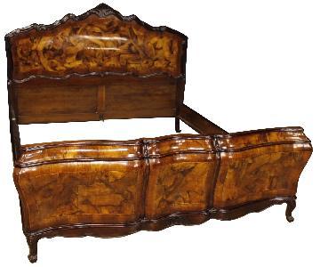 Louis XV Style Walnut & Burl Wood Venetian Double Bed