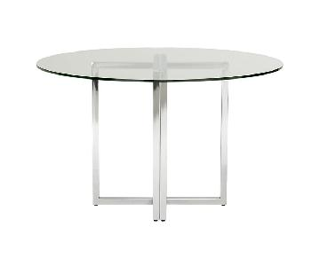 CB2 Glass/Chrome Round Dining Table