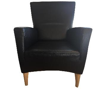 Italian Leather Armchair w/ Metal Feet