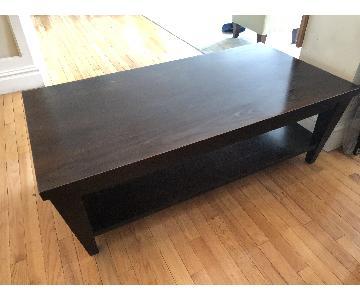 Ethan Allen Contemporary Dark Wood Coffee Table