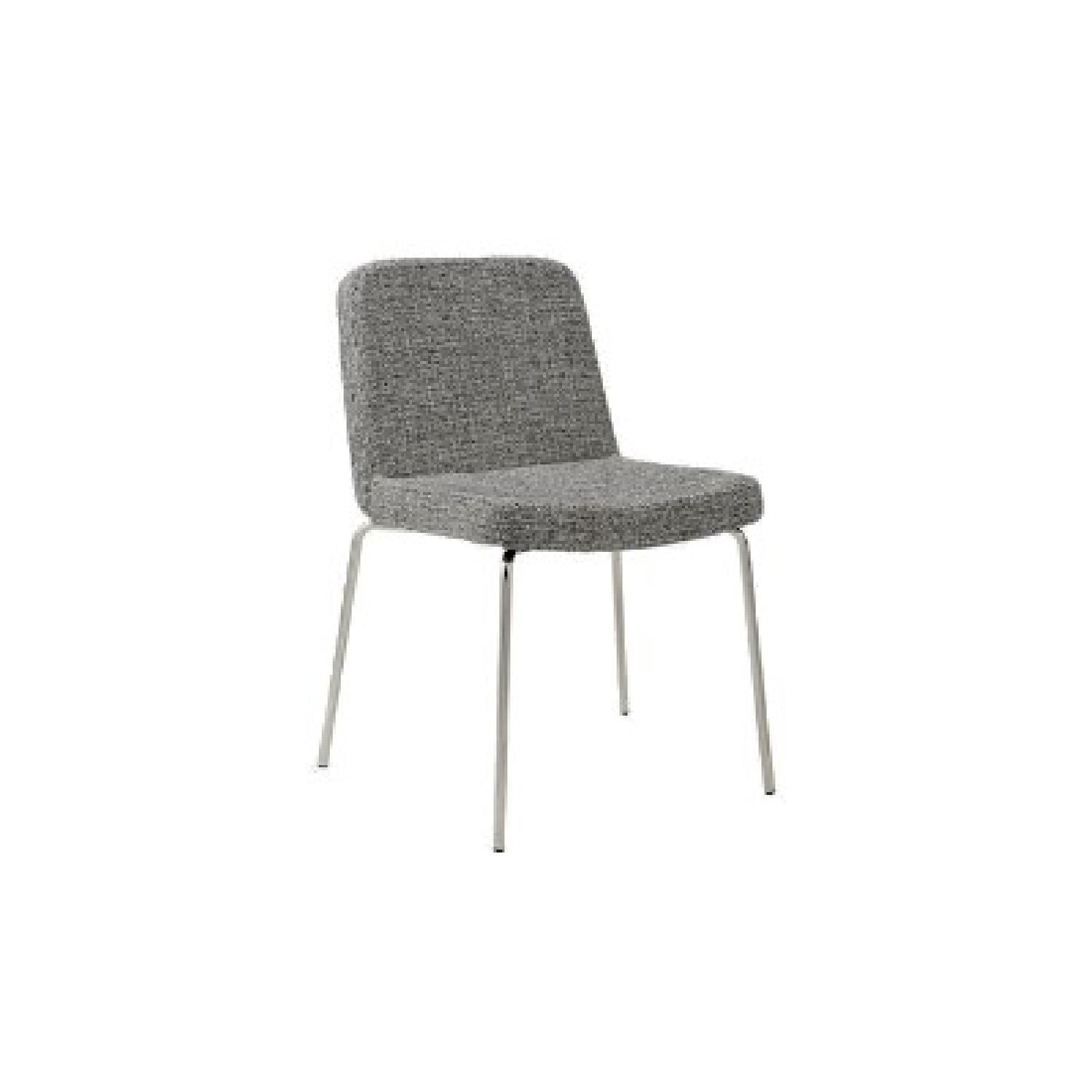 CB2 Grey Tweed & Chrome Dining Chairs