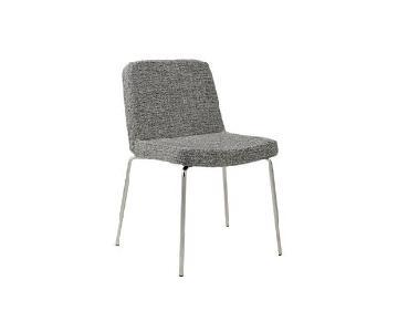 CB2 Grey Tweed & Chrome Dining Chairs