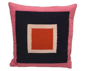 Jonathan Adler Throw Pillows in Pink/Navy/Orange/Ivory Wool
