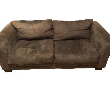 Dark Green Suede Two Seat Couch