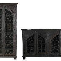 Mango Wood Sideboard & Wine Cabinet-Combo Set