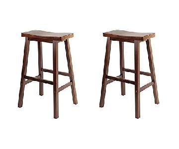 Winsome Wood Wood Saddle Seat Stools in Walnut