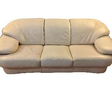 Cream Leather 3-Seater Sofa