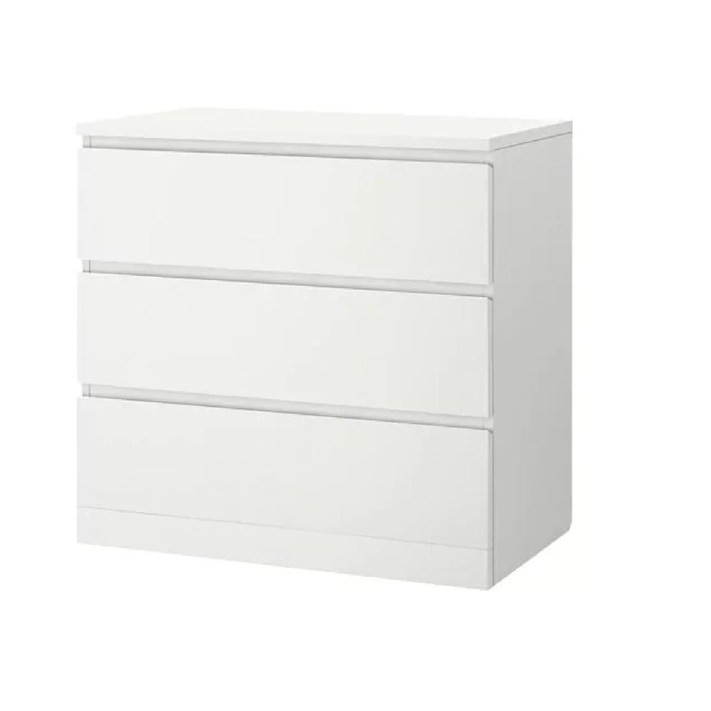 Ikea Malm White 3 Drawer Dresser AptDeco