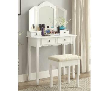 Round Hill Furniture Sanlo Vanity Table w/ Mirror & Stool