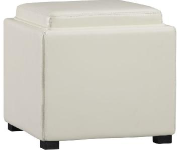 Crate & Barrel White Leather Storage Cubes/Ottomans